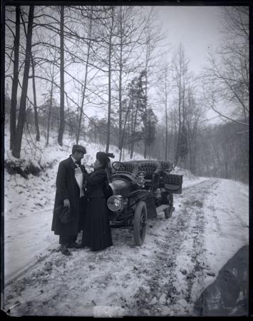 Unidentified Man and Woman with Automobile