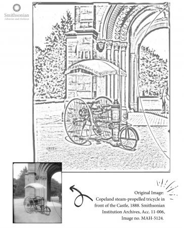 Coloring page featuring a steam tricycle.