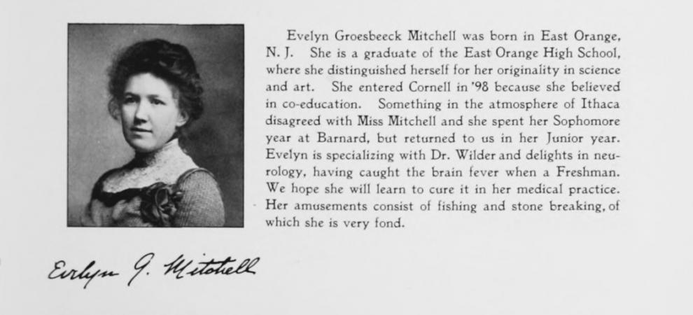 A yearbook entry with a portrait of a woman and a brief description of her life, including her exper