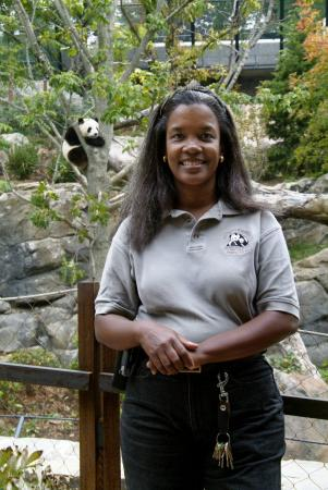Lisa Stevens stands in front of the giant panda enclosure.
