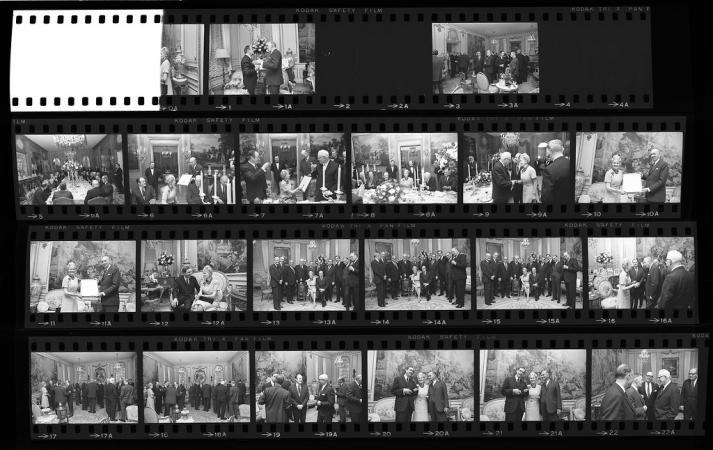 Collection of black and white negative contact sheet of images from the celebration of the Hillwood