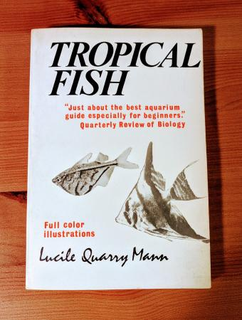 A photo of the cover of the 1977 edition of Tropical Aquarium Fishes, now titled Tropical Fish. The