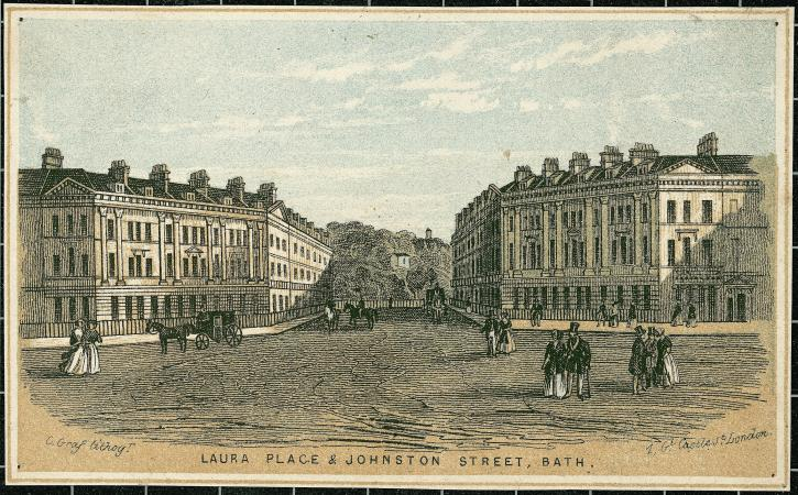 An intersection of two dirt roads with neoclassical stone buildings on the left and the right. Men a