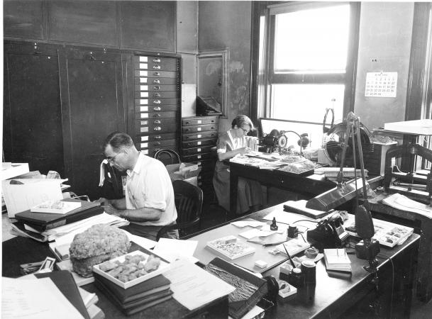 A man and woman sit at work at two long, cluttered desks. Both are wearing glasses. Both seem to be