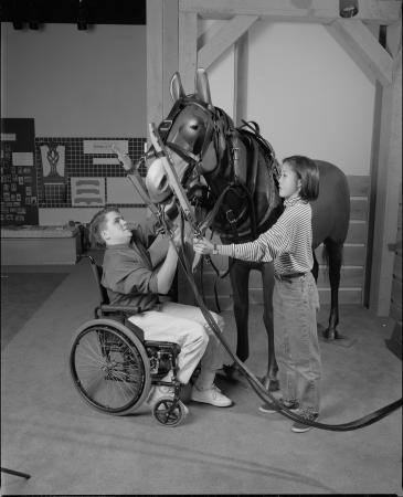 A boy and a girl harness a prop mule in an exhibit. The boy is in a wheelchair.