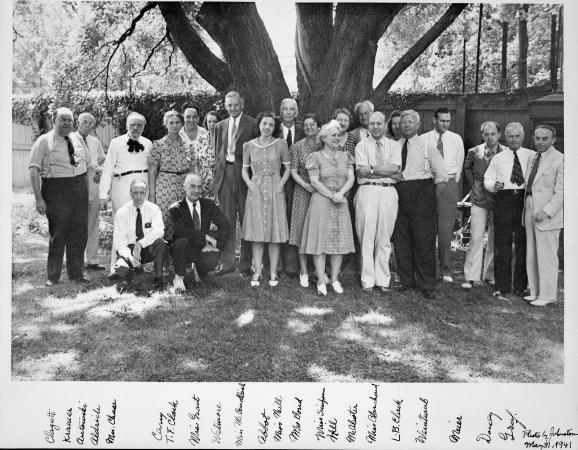 Black and white photograph of SAO staff, including Nancy Prichard, then referenced to as Miss McCand