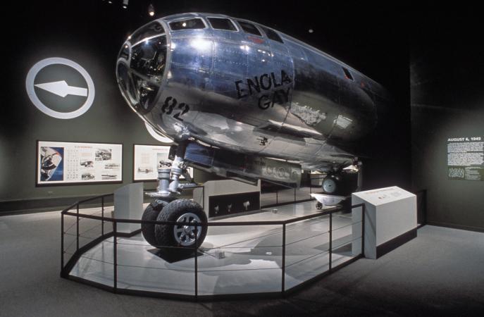 The Enola Gay on display in an exhibit.
