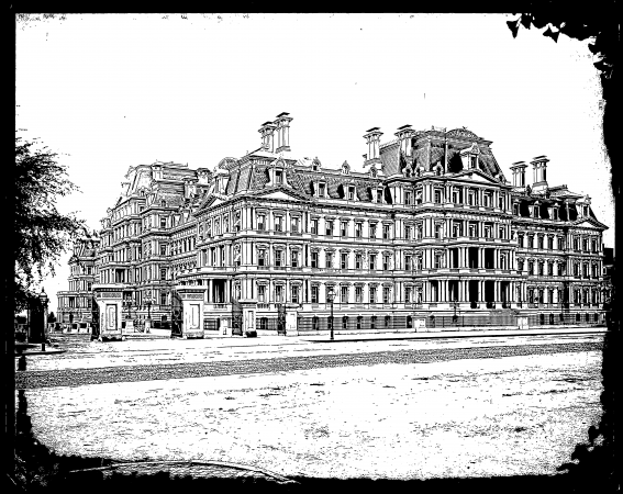 Black and white sketch of an old, large building.
