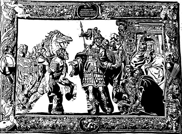 People in armour stand around a central figure. A frame is around the tapestry.