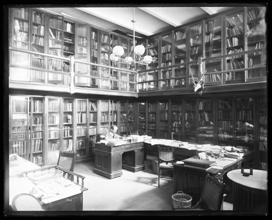 A man sits in a library.