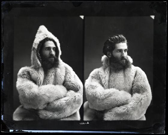 Two photographs of a man wearing a fur coat. The hood is on in the left photo.