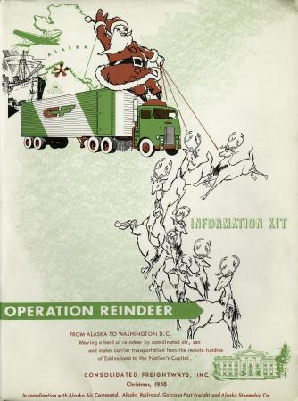 Information Kit Cover for Operation Reindeer. Santa flying with reindeer is on the cover.