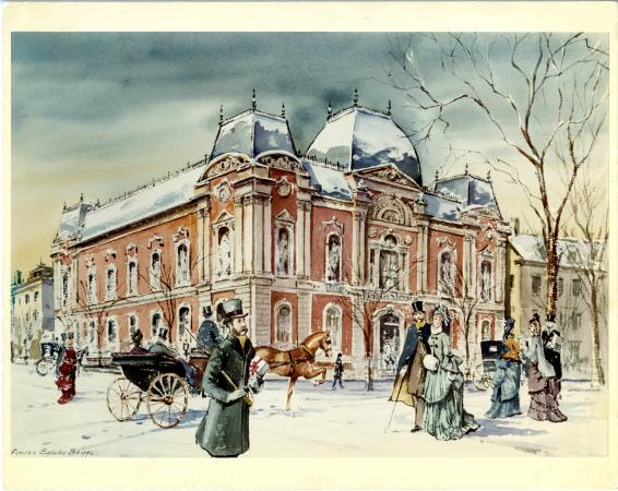 Painting of the Corcoran Gallery, now the Renwick Gallery, in the winter. People in winter overcoats