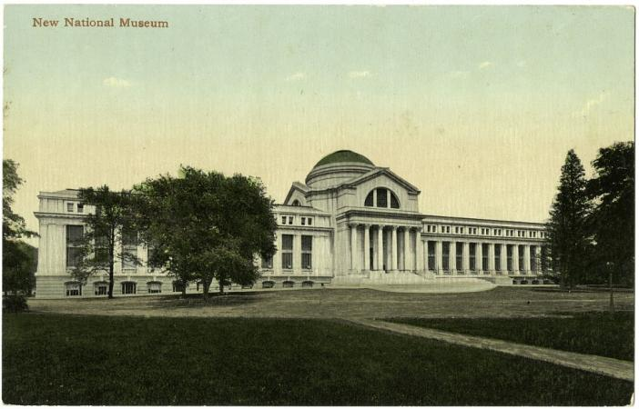 "Colored postcard, labeled ""New National Museum."" It is the Natural History Building with trees in fr"
