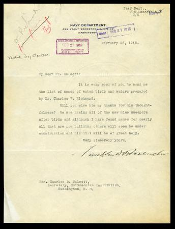 Typed Letter from Franklin D. Roosevelt as Assistant Secretary of the Navy thanking the then fourth