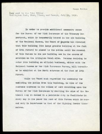 "Press release announcing closure of the U.S. National Museum, dated July 15, 1918 and sent to the ""W"