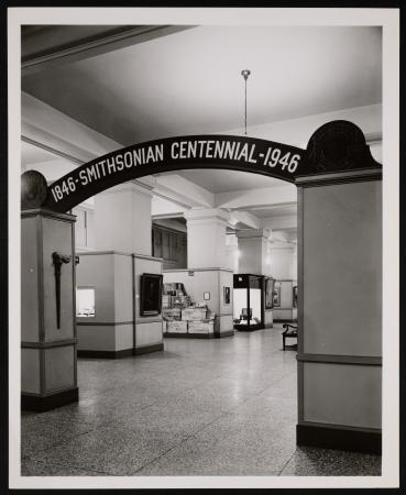 "View of an exhibit, titled ""1846-Smithsonian Centennial-1946."""