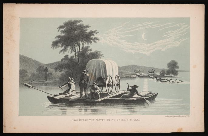 Engraving of a scene of people crossing a creek on a ship. The colors are mostly blue and a dark bei