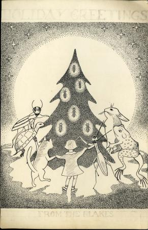 A faded, beige holiday card. A child, two bugs, a turtle, a cat, a frog, and a rabbit hold hands aro