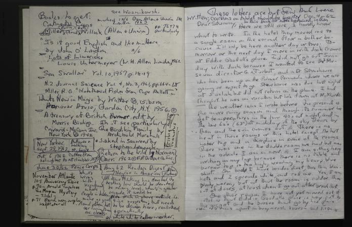 Two handwritten journal pages, written in black and blue ink. The left page is a list of books the a