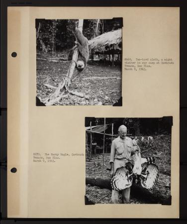 A scrapbook page containing two black and white photographs with captions. The top photograph shows