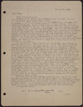 Typed letter from daughter Doris Sidney Blake to mother Doris Holmes Blake about Doris Sidney Blake'