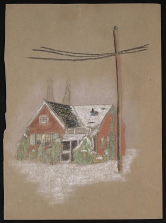 Color drawing on tan-colored construction paper, of a small red house with shrubs in front, lightly