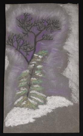 Color drawing of two trees on gray construction paper. The pine tree in the foreground is smaller an