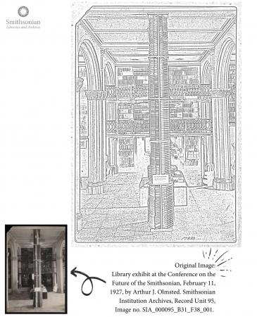 Coloring page featuring a floor-to-ceiling stack of library books.