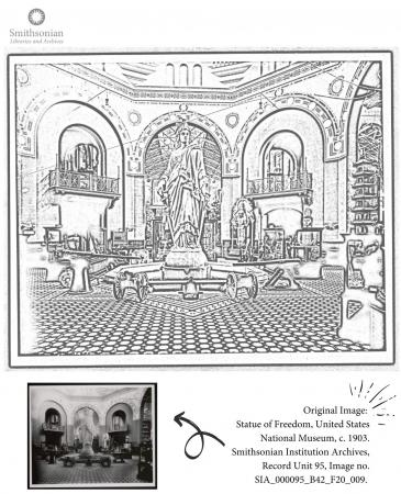 Coloring page featuring the rotunda of the Arts and Industries Building. That Statue of Freedom is p