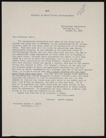 Copy of Letter from Robert Ridgway to Spencer Fullerton Baird