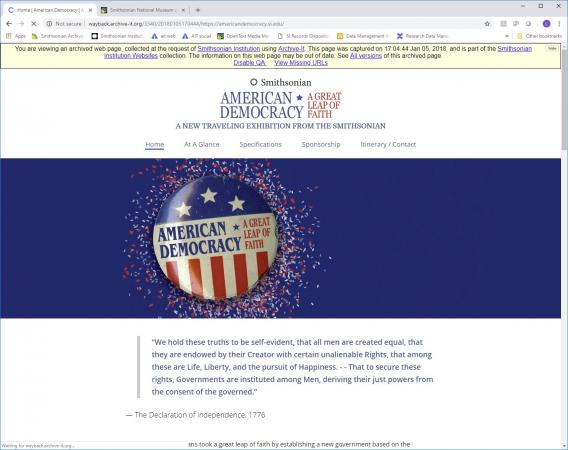 "Screenshot of a Smithsonian website. The page is titled ""American Democracy: A Great Leap of Faith."""