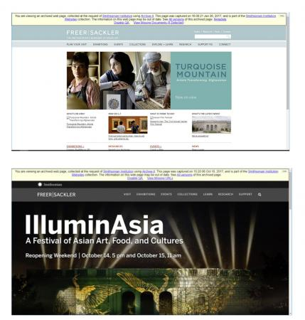 Two screenshots of websites of the Freer Sackler Gallery. The top is set in a white background and a
