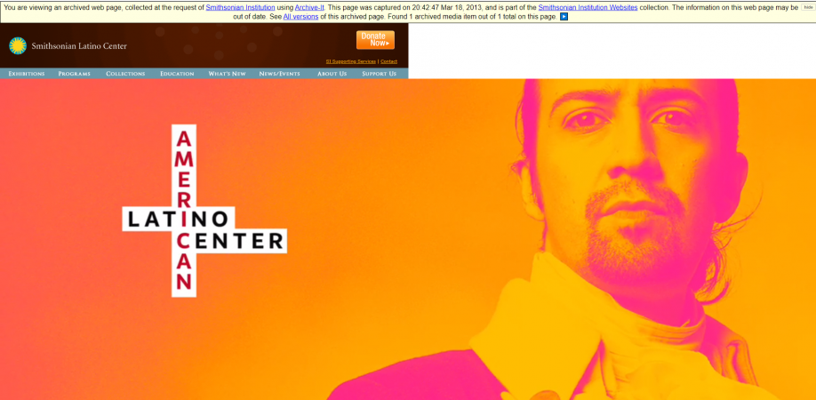 Smithsonian Latino Center website with an animation of Lin-Manuel Mirada depicted as Alexander Hamil