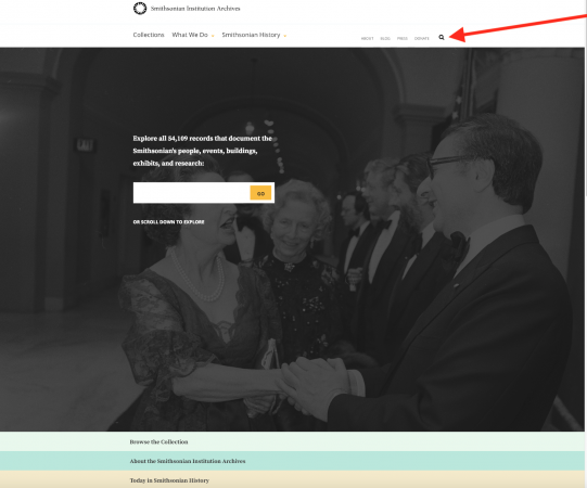 Screenshot of the Smithsonian Institution Archives' homepage with an arrow pointing to the magnifyin
