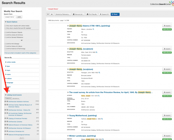 """Screenshot of a search for """"Joseph Henry"""" with an arrow pointing to the """"catalog record source"""" sect"""