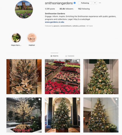 Screenshot of the Smithsonian Gardens Instagram account with six photographs of holiday plants/trees