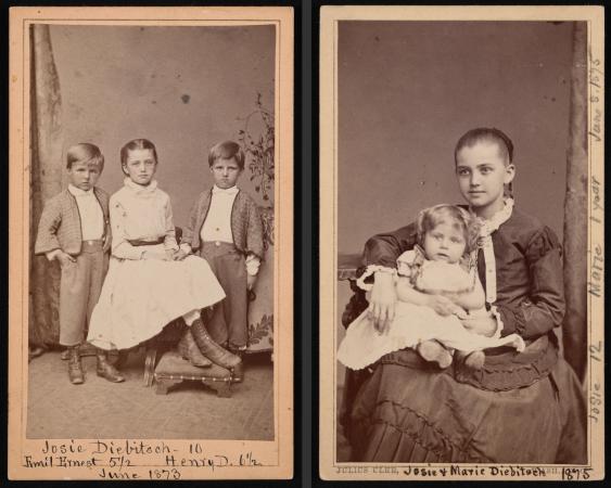 Portraits of Diebitsch Children - Emil, Josephine (Josie), Henry, and Marie