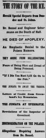 Title and many subtitles about death of Hall in the New York Herald.