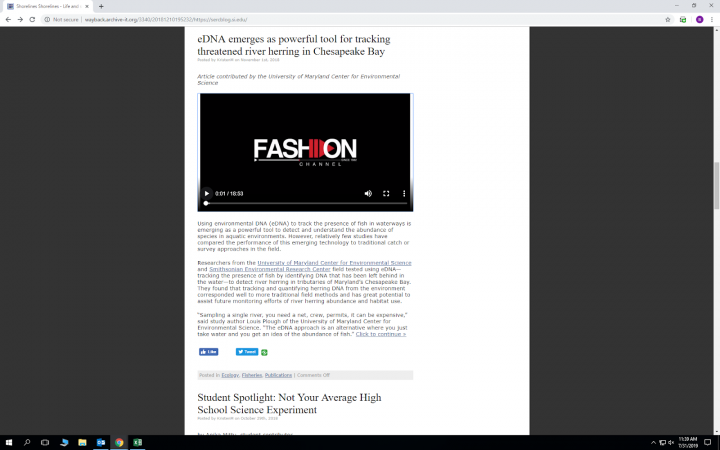 SERC blog post as appears in Archive-It Wayback, with embedded YouTube video from the Fashion HD Cha