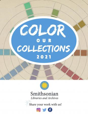"""Cover page of the coloring book, titled """"Color Our Collections 2021."""" The title is in front of an Al"""