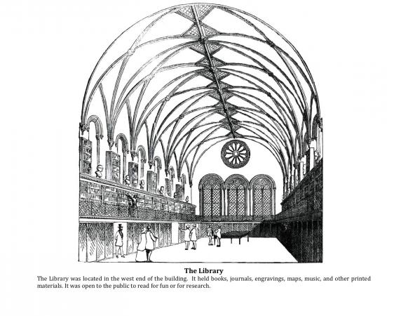 Page from a coloring activitity of rooms in the Smithsonian Castle. This one is of the library.