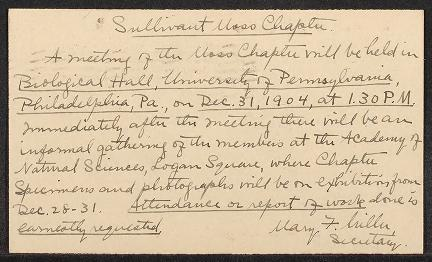 Mary F. Miller's handwriting on a post card with yellowed paper reminds Sullivant Society members of