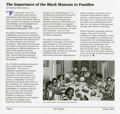 Screenshot of the article by Brown advocating for Black Smithsonian staff to support African America