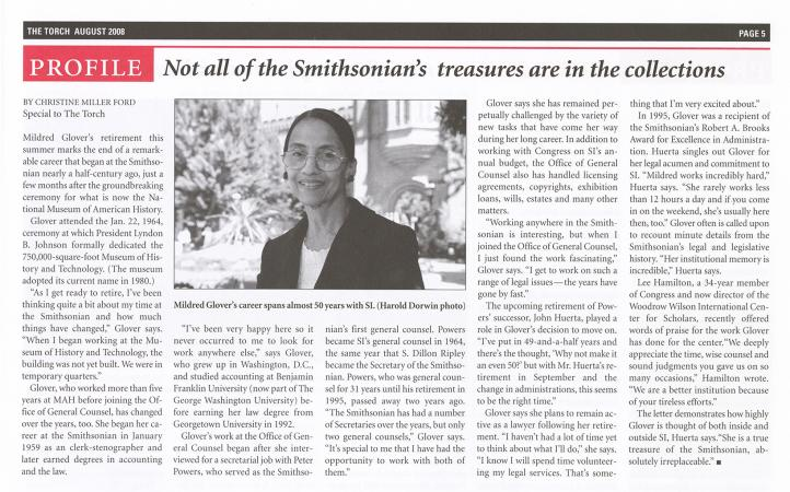 """Article featuring Mildred Glover, titled """"Not all of the Smithsonian's treasures are in the collecti"""