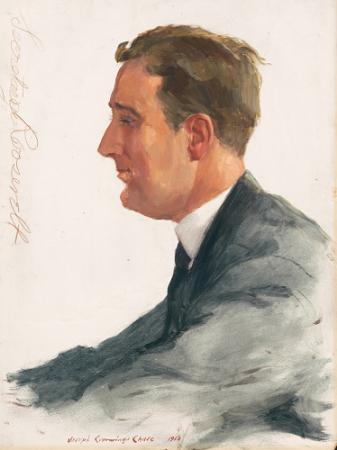 Oil based portrait of Franklin D. Roosevelt profile wearing a blue suit and tie, signed Secretary Ro