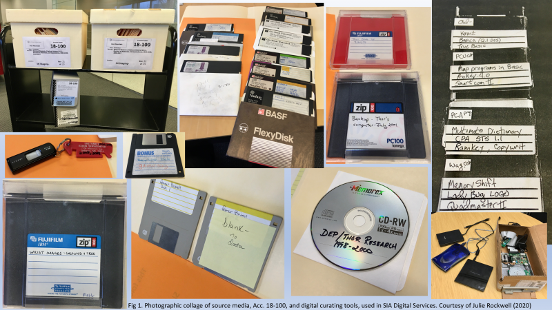 Computer source media such as floppy disks and a flashdrive from the Archives' Accession 18-100 foun