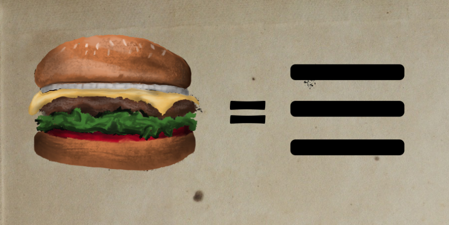 Drawing of hamburger on left and three lines making the hamburger icon on the right.