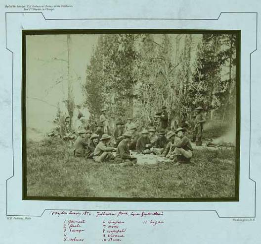 The Haden Survey group at Yellowstone National Park's Lower Geyser Basin, 1872.
