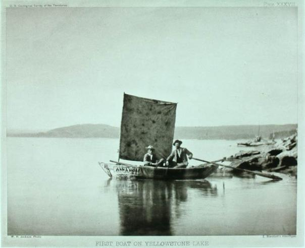 Two men exploring the Yellowstone Lake by boat, as part of the Department of Interior's U.S. Geologi